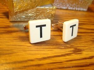 """"""" T """" Monogram Letter Initial GOLD Plate Cufflinks 1 Pair (Two)  Beige-Black"""