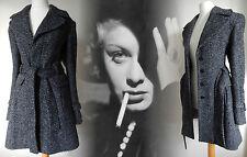 Vintage Inspired Coat 40s 50s Tweed Plaid Wool Jacket Black 14 16 42 44 US 10 12