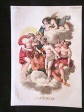 Pandora, Nume, Olimpo Incisione colorata a mano del 1820 Mitologia Pozzoli