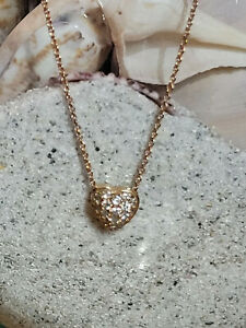 """ROBERTO COIN PUFFED HEART PENDANT WITH DIAMONDS ROSE GOLD 18KT 16-18"""" CHAIN"""