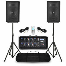 Complete PA SL Speaker System 400W, 8 Ch Bluetooth Mixer Amplifier & Stands