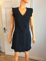 Twenty8twelve Suzette Black Ruffle 100% Silk Lined Shift Dress UK10 RRP£210 NWT