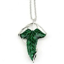Green Leaf Elven Lord of The Rings pin brooches Pendant Chain Necklace Jewelry