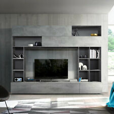 Wohnwand Pratiko Schrankwand Anbauwand Wohnzimmer in Beton und Ossido grau