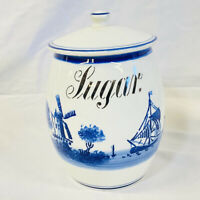 Vintage Antique Windmill Delft Ceramic Sugar Canister G.M.T. & Bro 8809 Germany.