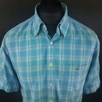Lacoste Mens Vintage Shirt LARGE Short Sleeve Blue Regular Fit Check Cotton