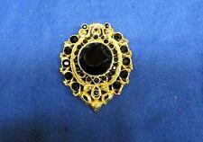 Vintage Signed Robert Rose Black Faceted Glass Brooch Pendant Gold Gilt
