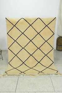 Geometric Beni Ourain Oriental Ivory Area Rug Modern Hand-knotted 5x7 Carpet