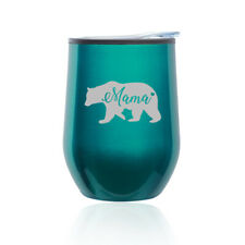 Stemless Wine Tumbler Coffee Travel Mug Glass Cup w/ Lid Mama Bear Mom Mother