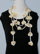 New Handmade Crochet Yellow Hearts Scarf Necklace Lariat