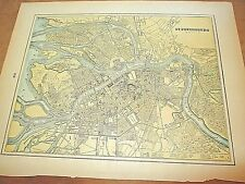 Antique 1896 Colored City Map of St. Petersburgh & Reverse is Stockholm/Sweden