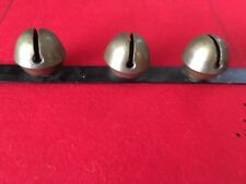 3 large Vintage Brass Sleigh bells on metal strip which hangs/Christmas Decor