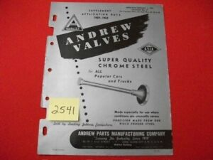 VINTAGE 1963 ANDREW PARTS MFG. CHROME STEEL VALVES DOMESTIC CARS & TRUCK CATALOG