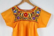 Hand Embroidered Yellow Blouse Made Mexico Boho Size Small STUNNING Quality