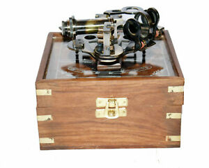 """New Antique  brass 4"""" sextant nautical ship astrolabe sextant with wooden box"""
