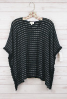 New Womens Maison Jules Striped Fringed Hacci Poncho Kint Top Black/White S $59