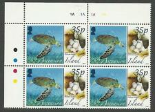 ASCENSION IS 2008 ANIMALS EGGS GREEN TURTLE TOP Left Corner Block 4 MNH