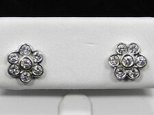 Beautiful Flower 7 Diamonds Cluster Earrings 14k White Gold 1.00 TCW