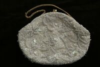 Vintage Beaded Ivory Gold Satin Clutch Purse Handmade In Hong Kong 1950s