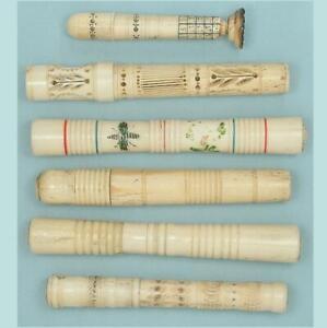 Collection of Antique Bone Needle Cases, One A Seal w/ Calendar * Circa 1800-90