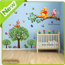 Winnie the Pooh Wall Stickers Papillon Animal Arbre Chambre Bébé Nurserie Decal Art