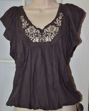 One World Live And Let Live Embroidered Top Size Small