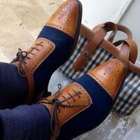 New Handmade Men Classic Brogue Style Two Tone Leather Shoes with Cap Toe, Dress