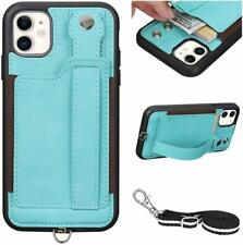 iPhone 11 Wallet Case Stylish Leather Card Holder Cover Detachable Strap Green