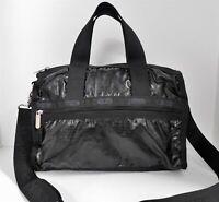 Le Sportsac Weekender Black Nylon Duffle Travel Crossbody Bag