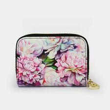 Rfid Armored Zipper Wallet Peonies Design 11 Pocket Divider