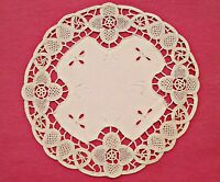 VINTAGE FLORAL ART CUT EMBROIDERY LACE FRAME IVORY COTTON ROUND COASTER DOILY