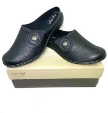 """Soft Style Women""""s Jamila Black Leather Mules Slip On Size 8.5 Wide Shoes"""