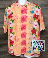 JAMS WORLD Men's Floral Aloha Rayon Short Sleeve Button Front Hawaiian Shirt L
