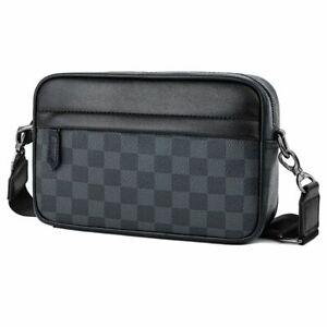 Men Elegant Shoulder Messenger Handbag Horizontal Small Black Polyurethane NEW