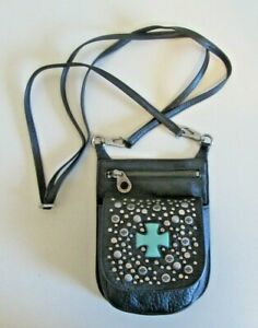 Vintage Womens Harley Davidson Black Leather Crossbody Bag Purse Turquoise Cross