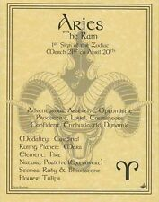 ARIES ZODIAC POSTER  Wicca Pagan Witch Witchcraft BOOK OF SHADOWS Astrology