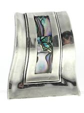 Silver Curvy Brooch Pin Mexican Taxco Abalone Sterling