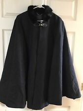 Joie $598  Womens Navy Rabbit Fur Contrast Trim Poncho L
