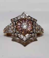 21k Multi-Tone Yellow Gold White and Pink Zircon Ring