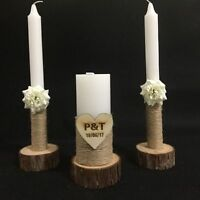 Wedding Unity Candles Set of 3 with Wood Candle Holder, Custom Wedding Candles