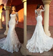 Sexy Spitze Lange Brautkleid Strand Meerjungfrau Hochzeitskleider 38 40 42 46 48
