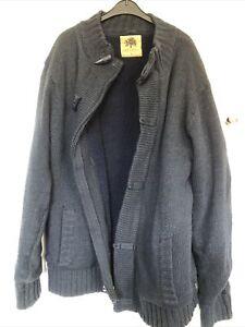 Mens Oak Valley Blue Thick Cardigan / Fleece Size L