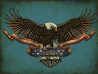 HARLEY DAVIDSON AMERICAN BALD EAGLE HEAVY DUTY USA MADE METAL ADVERTISING SIGN