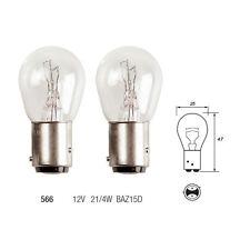 2 x 566 P21/4W Brake Stop & Tail Light Car Bulbs 12v 21/4w BAZ15D Offset Pins
