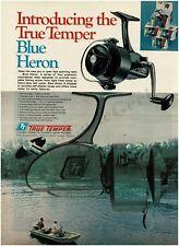 1971 True Temper BLUE HERON Spinning Fishing Reel VTG PRINT AD