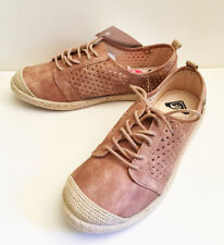 ROXY pink-rose suede sneakers with espadrille soles and toes  sz 7.5 NEW IN BOX