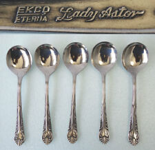 Ekco Eterna Stainless Lady Astor 5 Soup Spoons Shiny Stainless VINTAGE FLATWARE