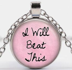 I Will Beat This Breast Cancer Pink Awareness Silver Pendant Necklace USA SELLER
