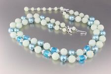 VINTAGE 50'S MULTI 2 STRAND BLUE FAUX PEARL & CRYSTAL GLASS BEAD NECKLACE JAPAN