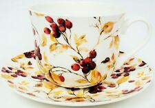 Berries Large Cup & Saucer Bone China Berry Breakfast Set Hand Decorated in UK
